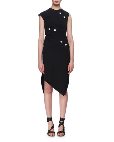 Asymmetric Button-Tack Sheath Dress, black