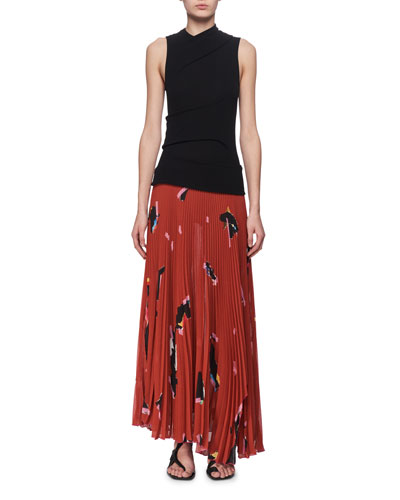 Jersey & Plisse Pleated Maxi Dress, Orange