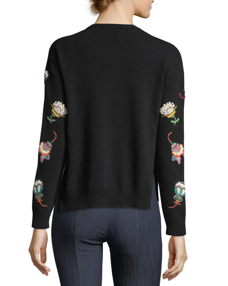 VALENTINO Embellished Lace-Yoke Virgin Wool Sweater, Black