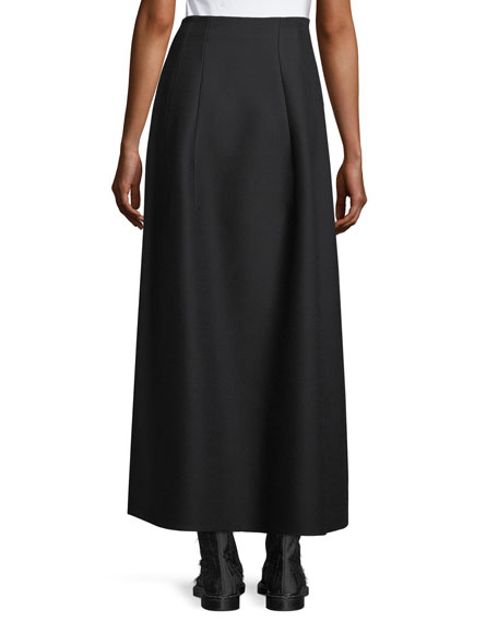 Batley Wool-Silk A-Line Maxi Skirt