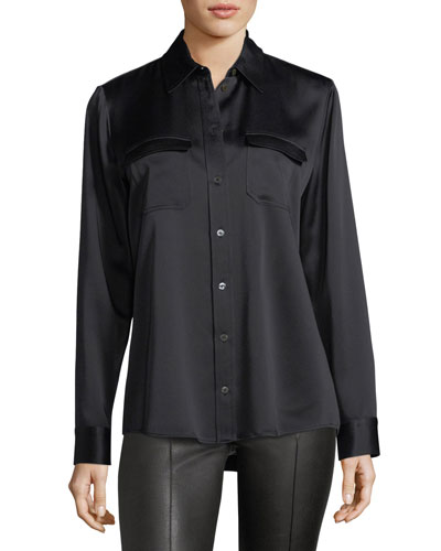 Patrew Satin Patch-Pocket Shirt