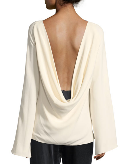 Andra Draped-Back Silk Top