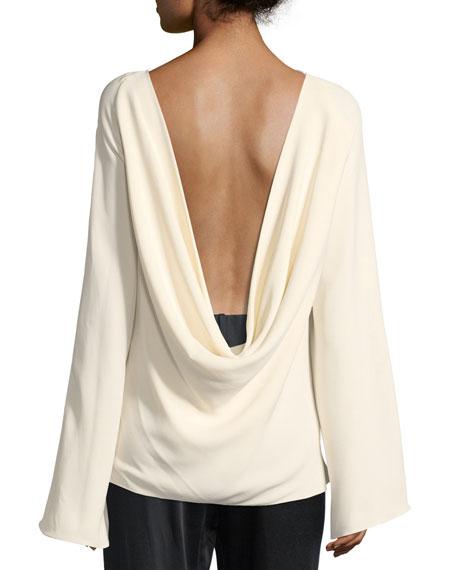 Andra Draped-Back Silk Top