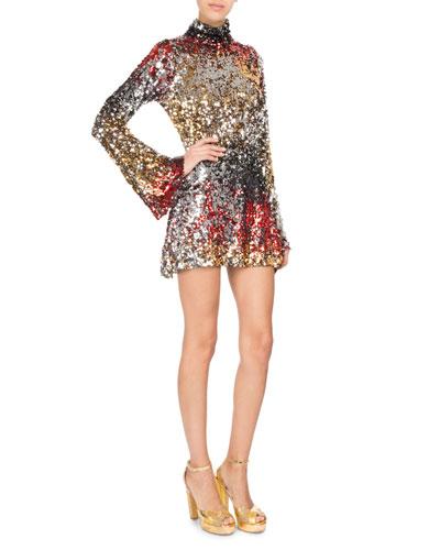 Mock-Neck Sequined Mini Cocktail Dress
