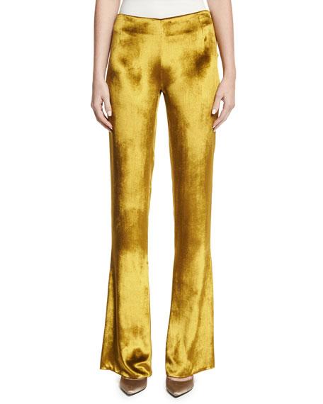 Flat-Front Velvet Trousers