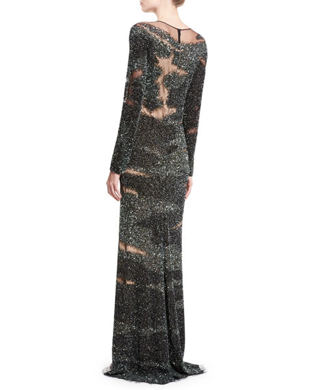 Brushstroke-Illusion Embroidered Gown