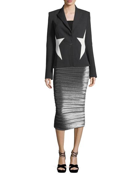 Pleated Lamé Pencil Skirt