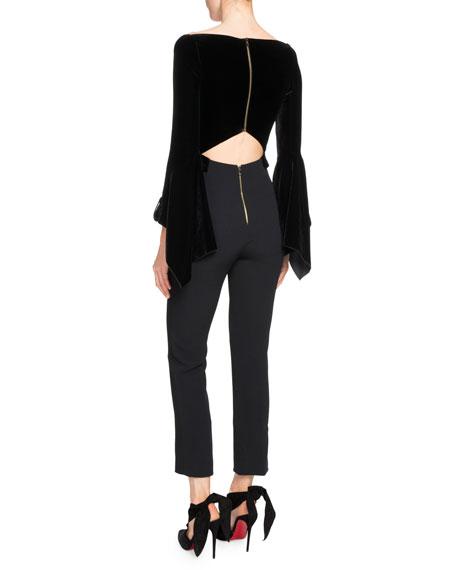Rayleigh Long-Sleeve Velvet Combo Jumpsuit