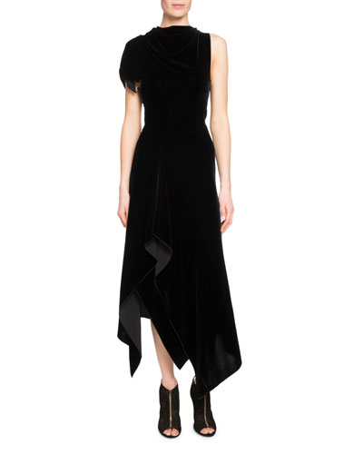 Wren Asymmetric Velvet Midi Dress