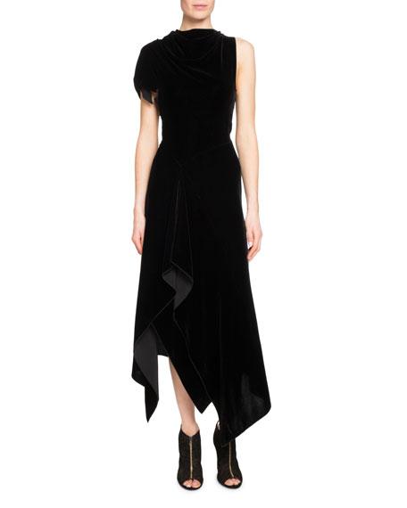 Wren Asymmetric Velvet Midi Dress