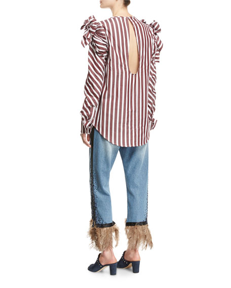 Clementina Tie-Shoulder Striped Poplin Blouse