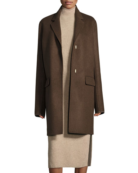 Nesper Hook-Front Wool Coat