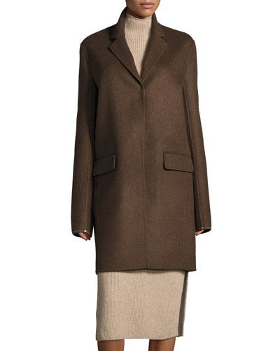Nesper Hook-Front Wool Coat