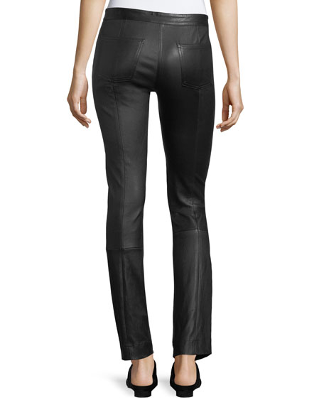 Maddly Leather Straight-Leg Pants