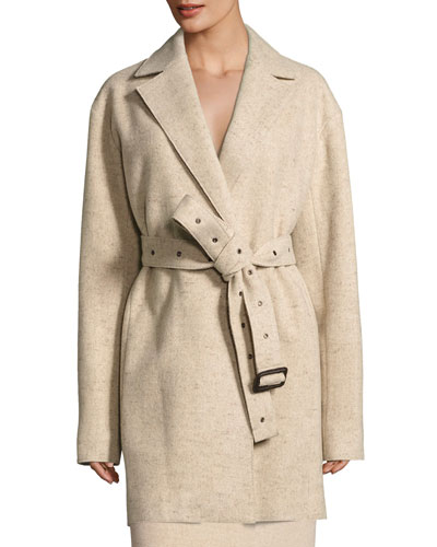Monire Belted Wool-Blend Jacket