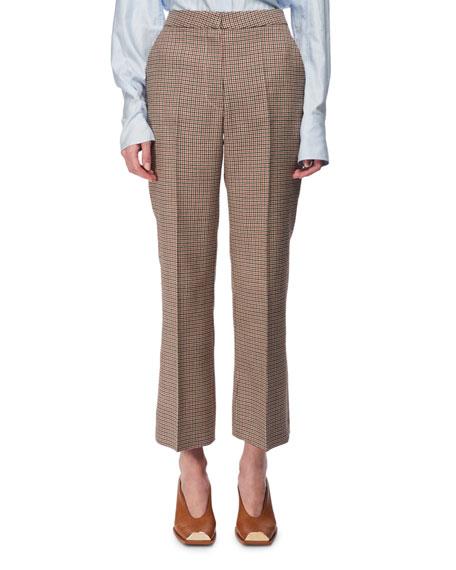 Check Wool Cropped Kick-Flare Pants