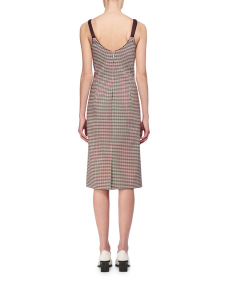 Mixed-Check Wool Bustier Pencil Dress