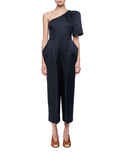 Satin One-Shoulder Cropped Jumpsuit