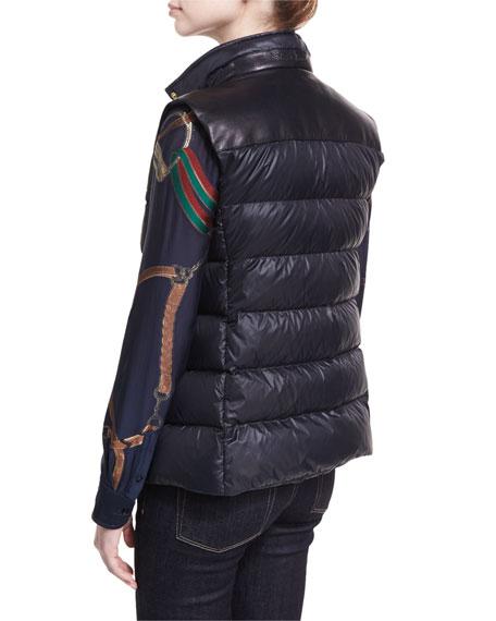 Taryn Leather-Trim Down Vest with Fur Collar