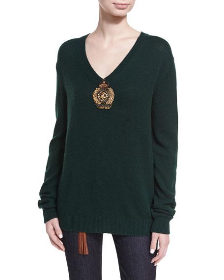 Embellished Cashmere-Nylon V-Neck Sweater