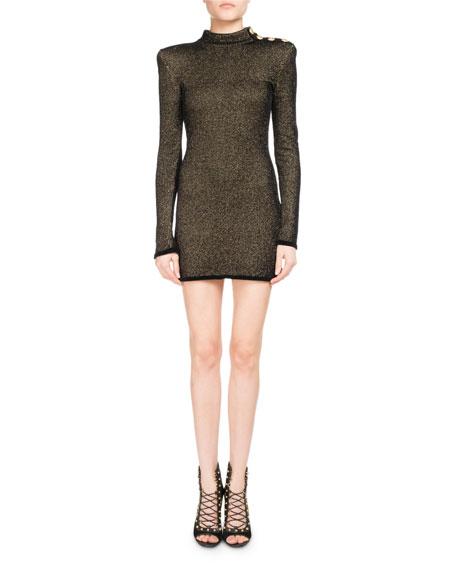 Metallic Mock-Neck Long-Sleeve Dress