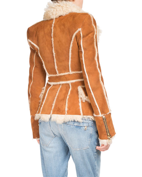 Shearling Fur Double-Breasted Coat