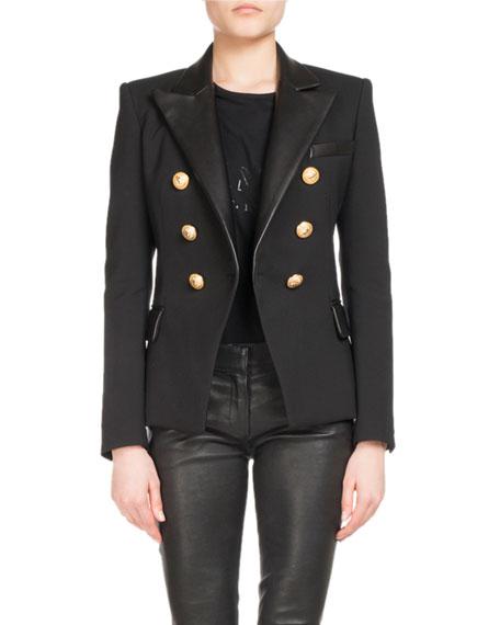 Leather-Trim Wool-Blend Blazer