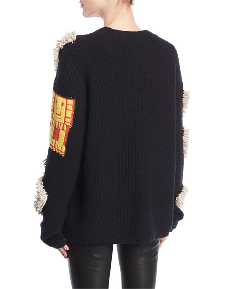 Oversized Patchwork Knit Sweater