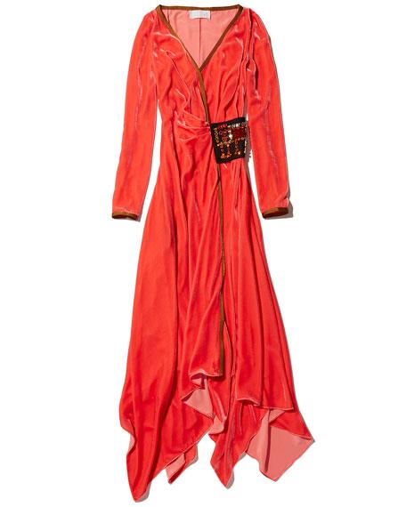 Velvet Wrap Midi Dress w/Crystal Patch
