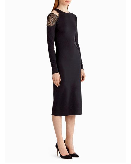 Lace-Inset Cutout Sheath Dress, Black