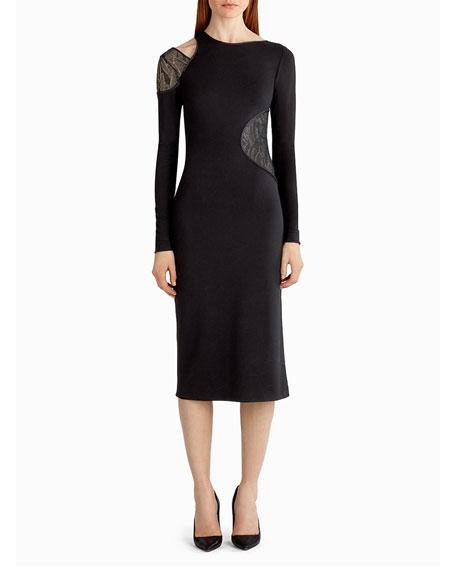 Jason Wu Lace-Inset Cutout Sheath Dress, Black