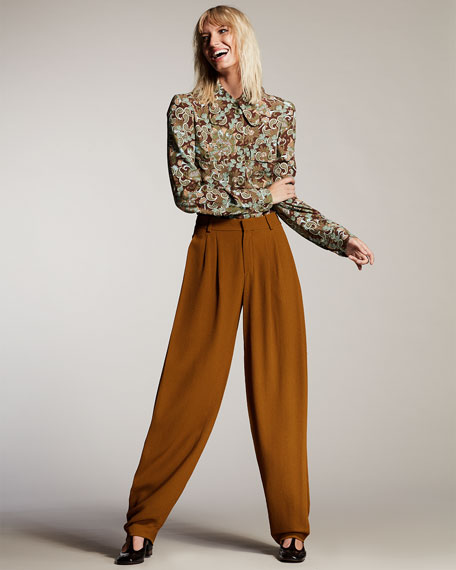 Pleated Menswear-Style Trousers