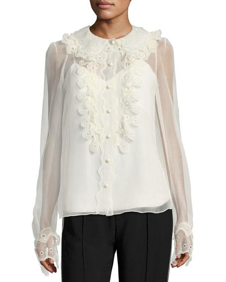 Circle Lace Silk Blouse