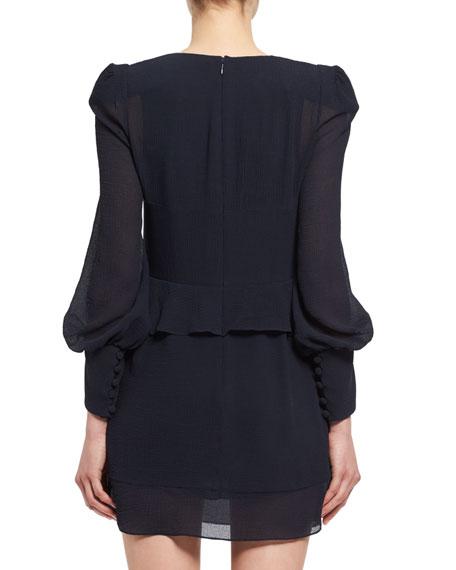 Long-Sleeve Ruched Silk Mini Dress