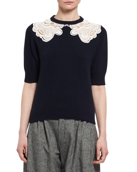 Lace-Trim Short-Sleeve Sweater