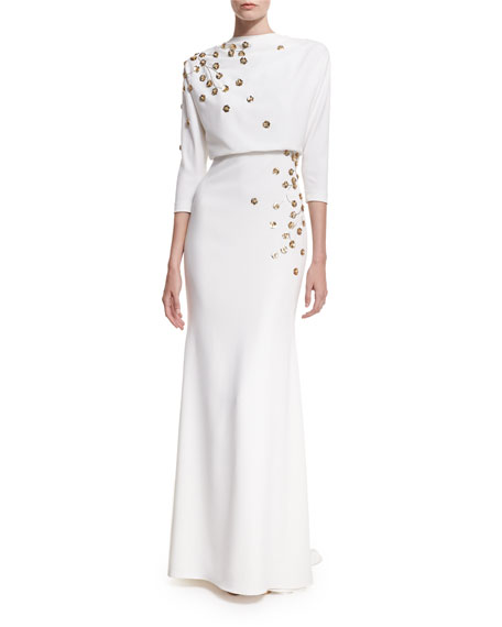 3/4-Sleeve Embellished Blouson Gown