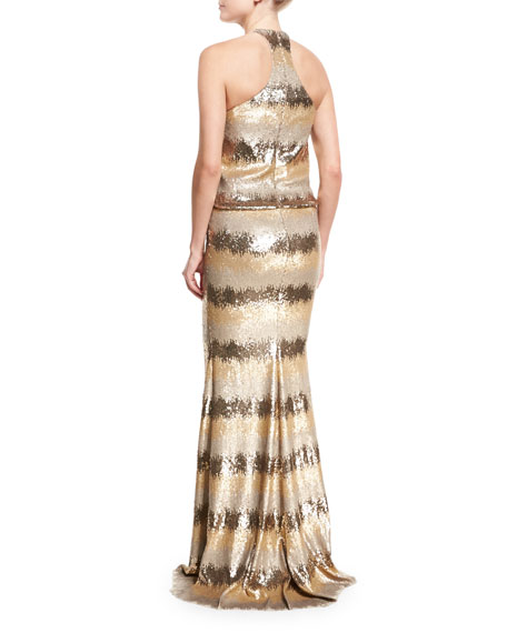 Striped Ombre Halter Gown