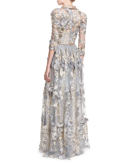 3/4-Sleeve Bead-Embroidered Shirtwaist Gown