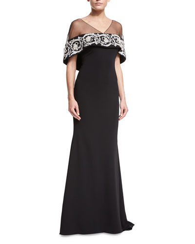 Embroidered Illusion Capelet Gown