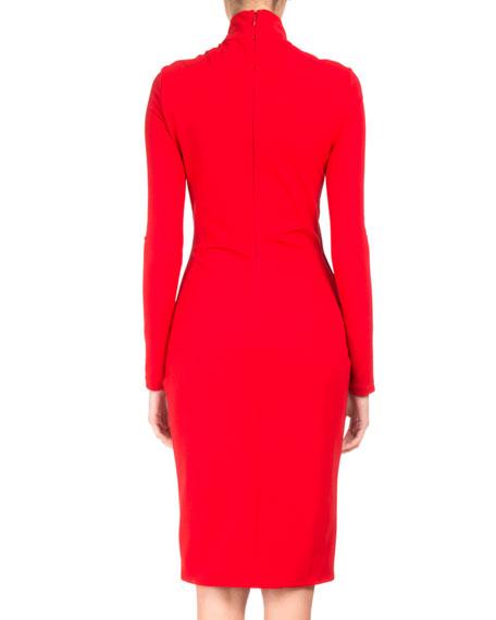 Draped Long-Sleeve Mock-Neck Dress