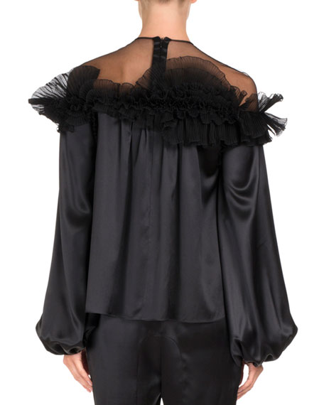 Silk Satin Sheer-Yoke Ruffle Top, Black