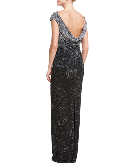 Beaded Cap-Sleeve Cowl-Back Gown