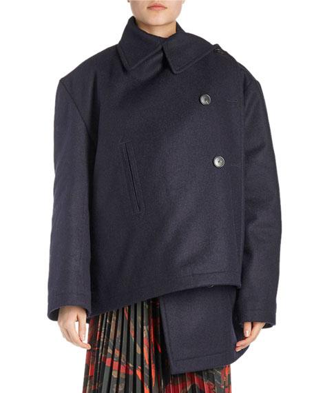 Pulled Asymmetric Wool Coat