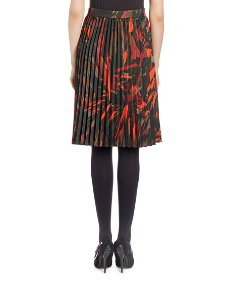 Pleated Abstract-Print Skirt