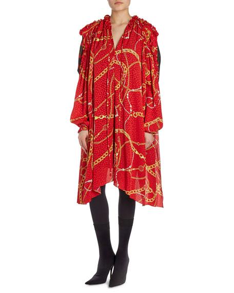 Draped Chain-Print Combo Dress