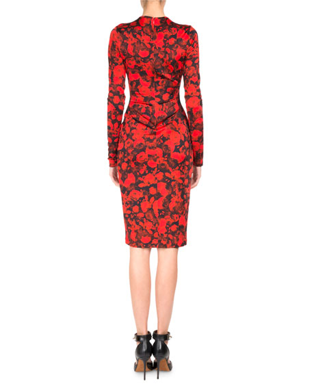Rose-Print Jersey Pencil Dress