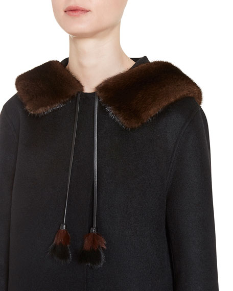 Wool-Blend Coat w/Mink Fur, Black