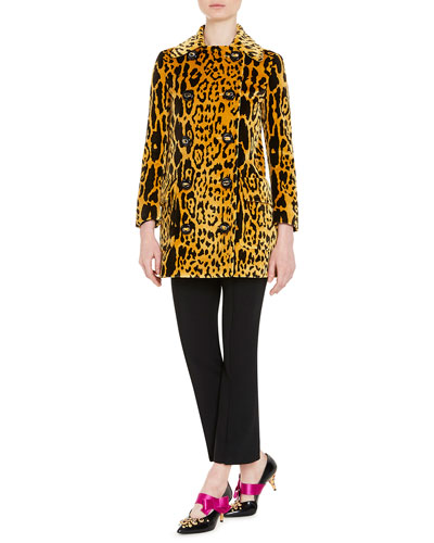 Double-Breasted Leopard-Print Corduroy Jacket, Yellow