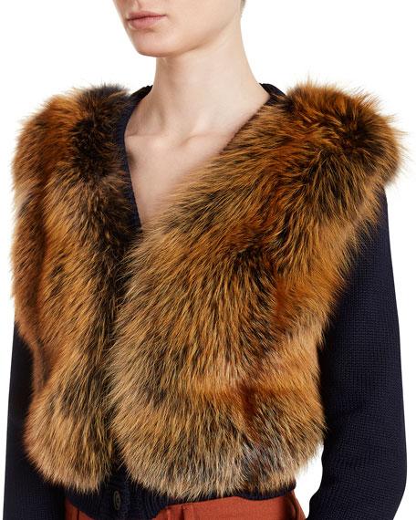 Knit Cardigan w/Fox Fur Front, Blue