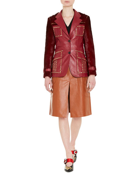 Studded Shearling-Trimmed Leather Blazer, Red
